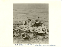 "Pile of Horse Bones, Horseshoes, and Boots on the battlefield.. LIBI_00030_00672; A black-and-white photograph of horse bones, boots, and horse shoes on a part of Custer Battlefield with Little Bighorn River in background; produced by L. A. Huffman, on unknown date.; print, photographic;  Courtesy of the National Park Service, Little Bighorn Battlefield National Monument, LIBI_00030_00672, L. A. Huffman, ""Pile of Horse Bones, Horseshoes, and Boots on the Battlefield,"" date unknown"