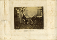 "Major General Alfred Pleasanton (Right) and Brigadier General George Armstrong Custer (Left) in Military Uniform and Tall Boots Seated Under a Tree. LIBI_00019_00577; An albumen photograph, mounted on card (paper), of Major General Pleasanton and Brigadier General Custer, seated under a tree, ""incidents of the war""; mount has fold creases and printed photograph information; negative by T. H. O. Sullivan, positive print by Alexander Gardner; dated circa 1865.; Print, Photographic [Mounted on Card]; Courtesy of the National Park Service, Little Bighorn Battlefield National Monument, LIBI_00019_00577, T. H. O. Sullivan and Alexander Gardner, ""Major General Alfred Pleasanton (Right) and Brigadier General George Armstrong Custer (Left) in Military Uniform and Tall Boots Seated Under a Tree,"" circa 1865"