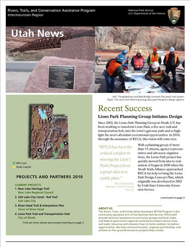 RTCA 2010 Utahs News. This brochure provides information about the current projects and recent successes.