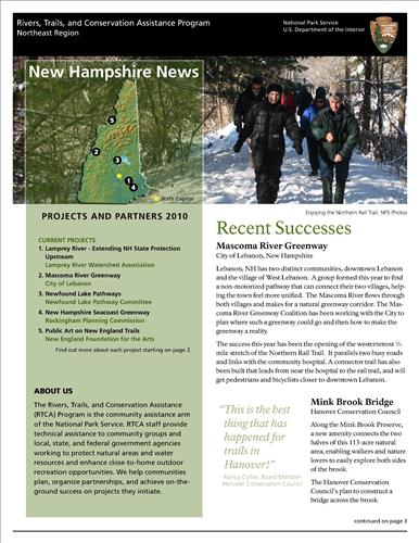 RTCA 2010 New Hampshire News. This brochure provides information about the current projects and recent successes.