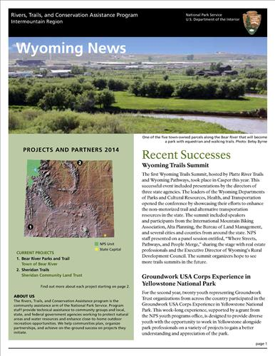 RTCA 2014 Wyoming News. This brochure provides information about the current projects and recent successes.