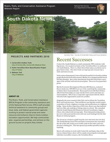 RTCA 2010 South Dakota News. This brochure provides information about the current projects and recent successes.