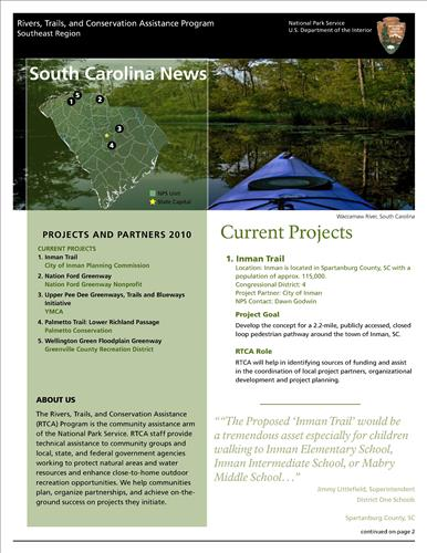 RTCA 2010 South Carolina News. This brochure provides information about the current projects and recent successes.