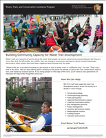 Building Community Capacity for Water Trail Development. This brochure provides tools on how RTCA can help you develop a local waterway in your community. Including five examples of how RTCA and communities collaborated to create water trails.