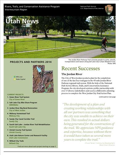 RTCA 2014 Utahs News. This brochure provides information about the current projects and recent successes.