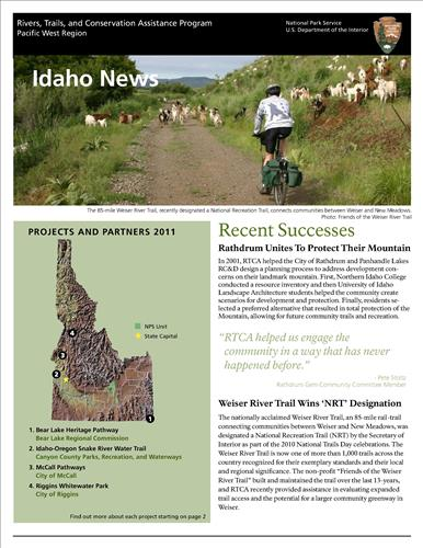 RTCA 2011 Idaho News. This brochure provides information about the current projects and recent successes.
