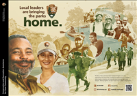 Rivers, Trails, and Conservation Assistance Program: Local Leaders are Bringing the Parks Home. This poster shows how RTCA is teaming up with local leaderd to improve access to parks, recreation areas, and conserved natural resources right in your backyard.