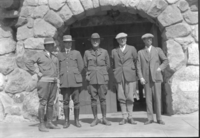 Meeting between NPS & Calif. State Fish & Game members L-R: Hull, Leavitt, Mather, McDougal & Greene