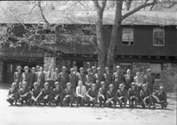 LEFT TO RIGHT: BACK ROW: Stewart Wallace, Walt Finn, Gus Eastman, John Bingaman, Moore, George Walker, Larry Cook, Rocky Cochran (D.V.), Mike Oakes, Maurie Thede, Irving Kerr, Jack Reynolds, Jack Nattinger (Olympic), Samuel Pusateri, Floyd Dickinson (Olympic), Fred Walker, Loyd Finch (Sequoia), Ward Yeager. FRONT ROW: Tommy Rilon, Carl Danner, Ron Haelock, Odin Johnson, Frank Givens, Bill Merrill, Sanford, Oscar Sedergren, Hall, Gordon Bender, Browne, Bill Joffee, Offal, Jack Bell.