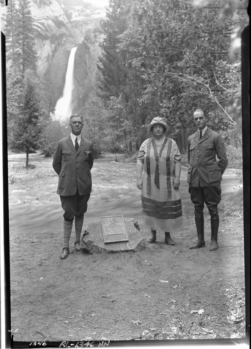 Dedication of John Muir plaque on Yosemite Falls trail. L-R: Prof. Bade, Muir's Daughter [Wanda], Supt. Lewis.