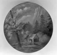 Wall plaque made by Mrs. J.M. Hutchings showing old sawmill. Painting copied by Ralph H. Anderson. Copy Neg: Leroy Radanovich, December 1996