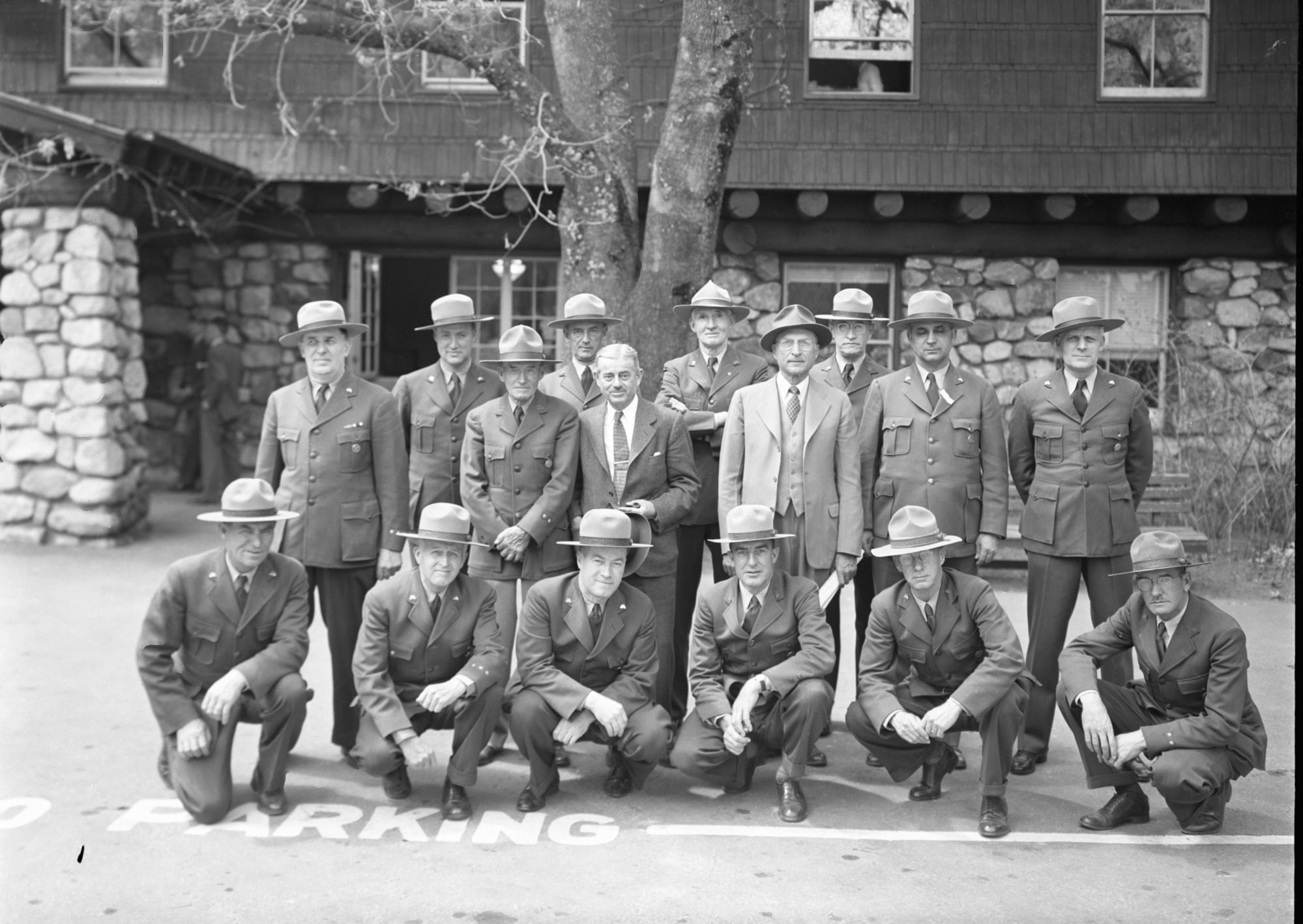 Superintendents and Rangers Fire Conference. WITH HATS ON-LEFT TO RIGHT Back Row: Finn, Muir Woods; Buckley, Silver Creek R.D.A; Goodwin; Fisher, Lava Beds; Drury; White; Tomlinson; Leavitt; Macy; Preston. Front Row: Pearson; Frank Kittredge; Jimmy Lloyd; Cole; Gibbs, Mendocino Woodlands; McCarthy, Craters of the Moon