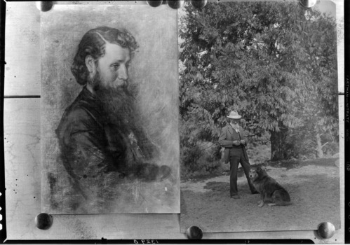 Muir as a youth and Muir with a dog.