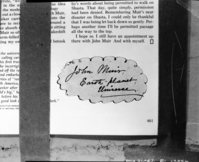 "John Muir's ""Cosmic Calling Card"". copied by Howard Weamer, copied March 26, 1974"