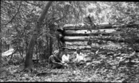 Lost Muir Cabin on Tenaya Creek. George Wharton James seated with Dr. Usher, Usher's wife and child. (copy neg of museum #18,564)