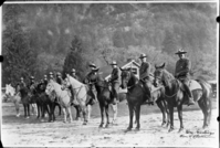 "Dedication of New Village, Yosemite Ranger Force - 1924. L-R: Billy Nelson, Bert Sault, Dixon Freeland, John Bingaman, Charles Rich, Charles Adair, John Wegner, Henry Skelton, Clyde Boothe & Chief Forest Townsley. Photo used in John W. Bingaman's ""Guardians of the Yosemite"", p. 20 and in Shirley Sargent's ""Yosemite & Its Innkeeps"", p. 55. Original in YNP Collections #12,710"