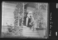 Willeta Hill & Estella Washburn bidding Pres. Theodore Roosevelt goodbye after he visited the Thomas Hill studio. Copy neg. of Yosemite Collections #6742. Also in Shirley Sargent's Wawona book, p. 57.