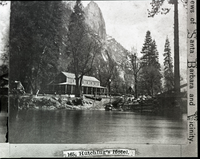 "Detail of stereo (RL-16,413). Caption: ""165. Hutching's Hotel"". Merced River in foreground."