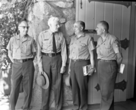Supervisors meeting in Yosemite. L to R: USFS Supr. Harry Grace, Stanislaus Nat'l Forest; John C. Preston, Supt. Yosemite; USFS Supr. Walter Puhn, Sierra Nat'l Forest; USFS Supr. Joe Redel, Inyo Nat'l Forest