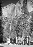 Regional Office Women at foot of Yosemite Falls.