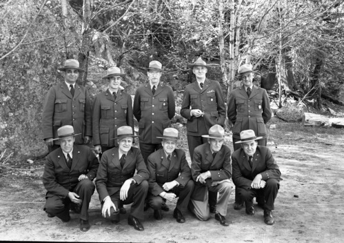 Superintendents at Yosemite Fire Conference for Region Four. L-R: back row- Preston Macy, Olympic; Jim Cole, Joshua Tree; Ernest Leavitt, Crater Lake; Colonel White, Sequoia; Don Fisher, Lava Beds; Front- Harry Buckley, Silver Creek Rec. Area; John Preston, Mt. Ranier; Frank A. Kittredge, Yosemite; Ray Goodwin, Death Valley; Walter Finn, Muir Woods