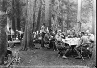 In camp on Sphinx Creek. Horace Albright on far right. (Kings Canyon Area)
