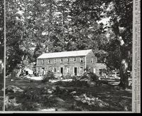 "Detail of L. Smaus stereo (RL-16,522), captioned ""The Upper House, Yosemite Valley, Mariposa County, Cal. 1088."" Hutching's Hotel. copied by Michael Dixon, copied July 1985"