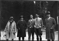 Looking over grounds for Ahwahnee Hotel. L-R: G.S. Underwood (Architect), Dan Hull (NPS Landscape Engineer), Mr. Lansdale (YP&CC Director), Dr. Tresidder (Pres. YP&CC) and Mr. John Drum (Director)