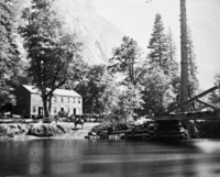 "Detail of L. Smaus stereo (RL-16,552). Written on back of card: ""Yosemite Valley. the Sentinel and Hutchings Hotel. June, 1870. On horse. H.C.T."" copied by Michael Dixon, copied July 1985"