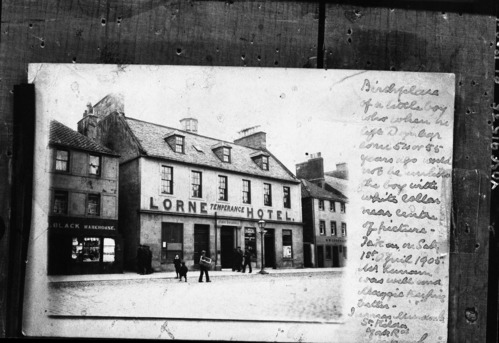 Lorne Hotel, formerly a residence where John Muir was born in Dunbar, Scotland on April 21, 1838. This remained the Muir family home until 1849. Boyhood home - actually born in the building to the left.