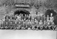 Fire Training Conference in Yosemite. LEFT TO RIGHT: Sitting- Alvin B. Filippini, J. Glyde Werley, Art Moberg, Buck Evans, Odin S. Johnson, Oscar Sedergren, Alan McCready, Duane Jacobs, Curtis Lindley, Norman Spangenberg, Paul Googins, Cliff Risbrudt, and Jewell Michels. Kneeling- Cecil Metcalf, Jim Dulitz, Les Hansen, Nelson Murdock, Ed Angwin, Bob Moore, Bill Pennington, R. Gaines, Burnett Seaford, F.J. Jefferson, Larry Cook, Corky Johnson, Dick Rafferty, John Rutter, Reed Seeley, Henry Schmid, Bob Branges, Myron J. Horn, R.H. McGee, Scholla Parker (?), Frank Watson, Eivind Scoyen, Byron Beattie, Elroy F. Paysen,. Standing- Paul Stathem, Darwin Griswold, Louis Geil, Hugh Payton, Stanley McComas, Wm. James, Art Holmes, Bert Harris, Howard Moore, Elmo Freear, Jack Anderson, Wm. Jacobson, Roy Bengard, D.G. McBean, Ken Fox, Dean Schlobohm, W.H. Hansen, James Taylor, John Bingaman, and Sam Clark.