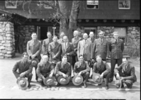Superintendents and Rangers Fire Conference. With Hats Off. LEFT TO RIGHT Back Row: Finn, Muir Woods; Buckley, Silver Creek R.D.A; Goodwin; Fisher, Lava Beds; Drury; White; Tomlinson; Leavitt; Macy; Preston. Front Row: Pearson; Frank Kittredge; Jimmy Lloyd; Cole; Gibbs, Mendocino Woodlands; McCarthy, Craters of the Moon