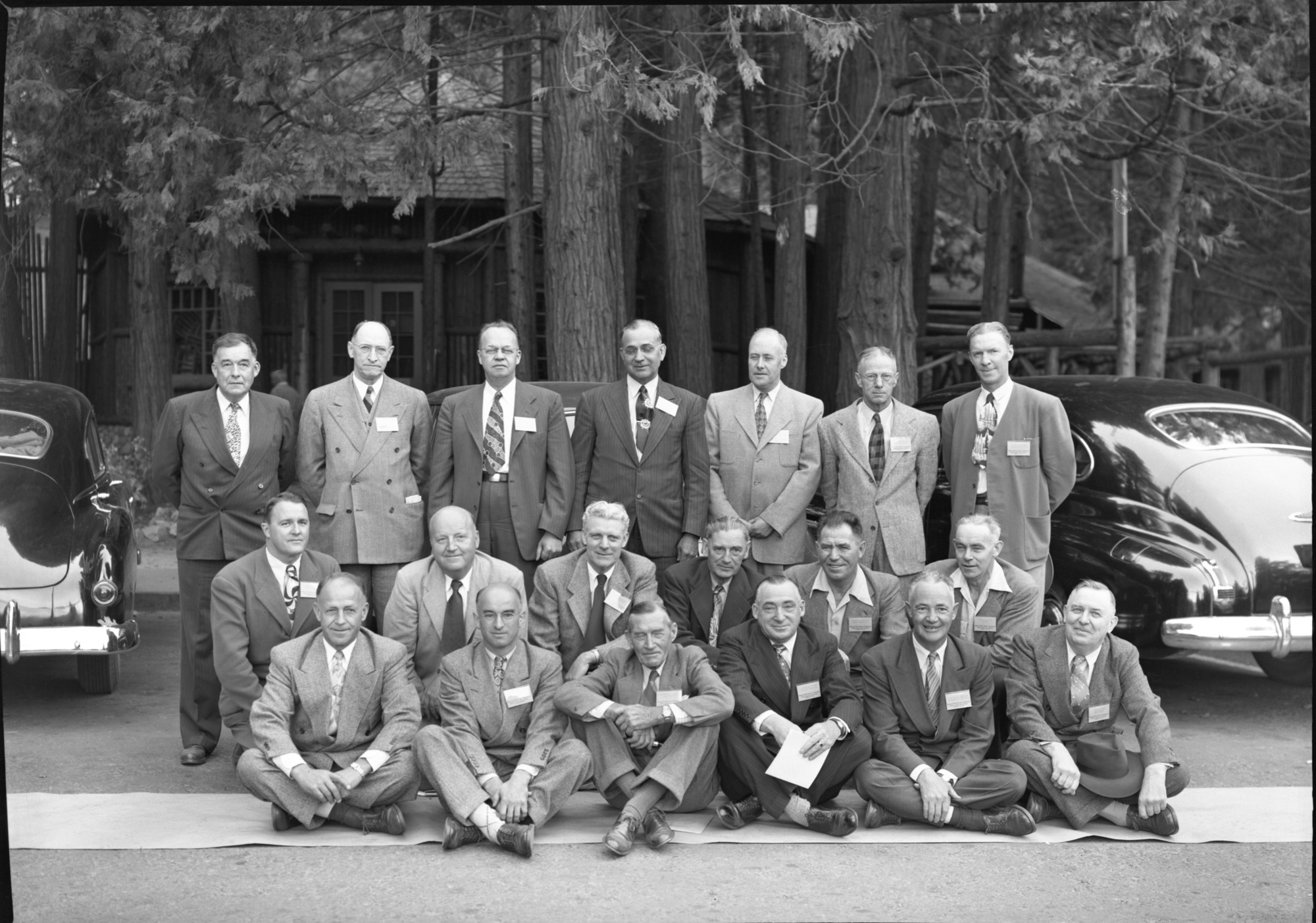 Region Four Area Superintendents with Reg. Dir. O.A. Tomlinson. LEFT TO RIGHT: STANDING: Hugh Peyton, Millerton Lake; Ernest Leavitt, Crater Lake; Carl Russell, Yosemite; Preston Macy, Olympic; Oscar W. Carlton, Asst. Supt. Sequoia-Kings; William H. Gibbs, Pinnacles; Frank R. Givens, Joshua Tree; and Walter Finn, Muir Woods. KNEELING: Donald M. Robinson, Cabrillo N.M.; Eivind Scoyen, Sequoia-Kings; John C. Preston, Mt. Ranier, Don Fisher, Lava Beds; Grant H. Pearson, Mt. McKinley; and Ben C. Miller, Sitka N.M. SEATED: Francis R. Oberhansley, Hawaii; Robert K. Weldon, Whitman N.M.; Tom R Goodwin, Death Valley; O.A. Tomlinson, Regional Director, Region Four; Dan T. Tobin, Lassen Volcanic; Sam Houston, Craters of the Moon.