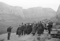 Hetch Hetchy Valley prior to reservoir showing party of visitors viewing valley.