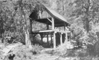 Hutchings' sawmill near Yosemite Falls. Copied by: Phillips 11/36. From a George Fiske Photo.