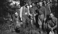 Horace Albright (3rd fm. lft), Don Tresidder (2nd fm. right) and fishing group