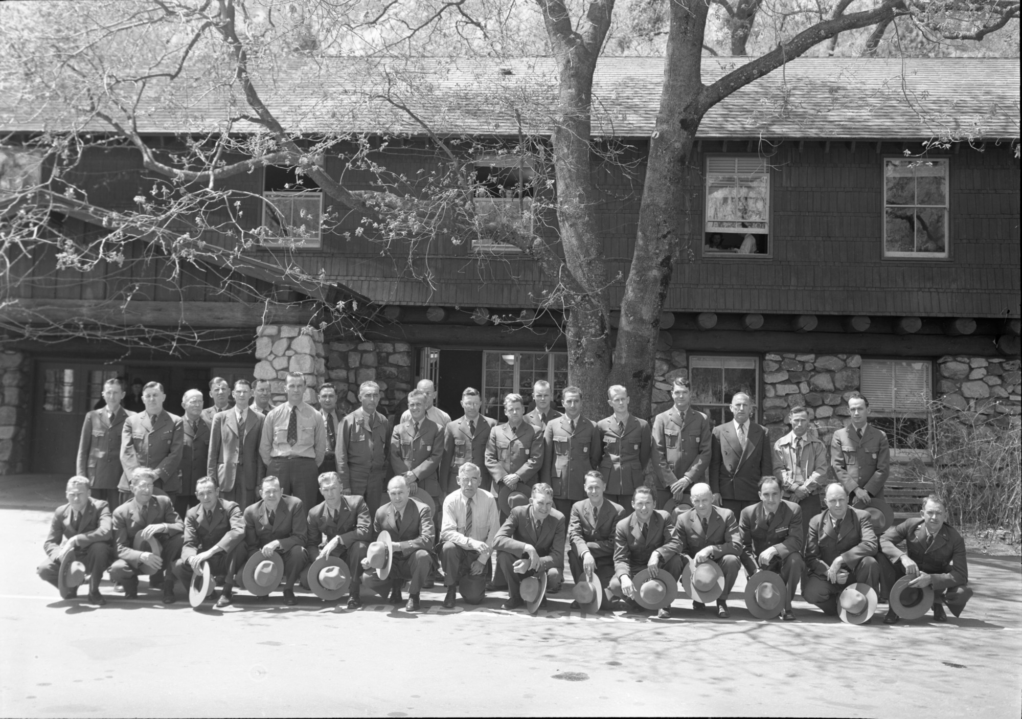"Supt. & Rangers Fire Conference ""Hats off"" Left to Right: BACK ROW: Stewart Wallace, Walt Finn, Gus Eastman, John Bingaman, Moore, George Walker, Larry Cook, Rocky Cochran (D.V.), Mike Oakes, Maurie Thede, Irving Kerr, Jack Reynolds, Jack Nattinger (Olympic), Samuel Pusateri, Floyd Dickinson (Olympic), Fred Walker, Loyd Finch (Sequoia), Ward Yeager. FRONT ROW: Tommy Rilon, Carl Danner, Ron Haelock, Odin Johnson, Frank Givens, Bill Merrill, Sanford, Oscar Sedergren, Hall, Gordon Bender, Browne, Bill Joffee, Offal, Jack Bell."