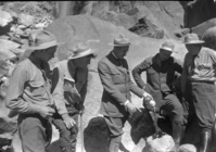 Examining the remains of man that jumped over Yosemite Falls. L-R: Holbrook, Wegner, Church, Boothe & Skelton