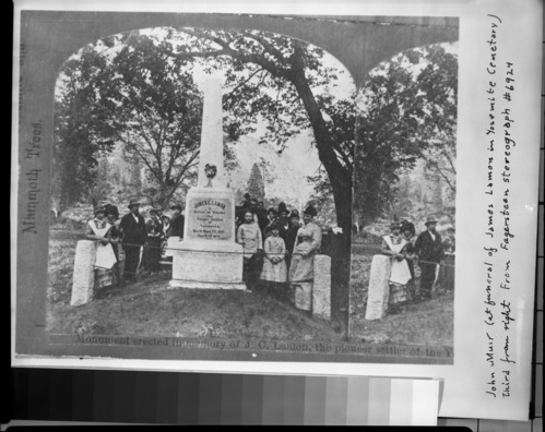 John Muir at Lamon's funeral. From Fagersteen's stereograph #6924. Copied June 1981.