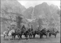 The First Rangers LEFT TO RIGHT: Oliver Prien, Chief Ranger; Charles Bull, Assist. Chief Ranger; Jack Gaylor, 2nd assist. to Chief Ranger; Wayne Westfall; George McNab, Charles Leidig, First Park Ranger in Yosemite; Charles Adair; Archie Leonard; Forest Townsley. [See: annual Supt's Report - 19 979.447/Y-83].